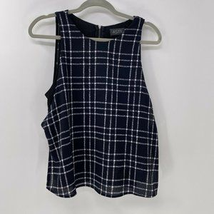 ASTR plaid sleeveless lined blouse top sz L Large